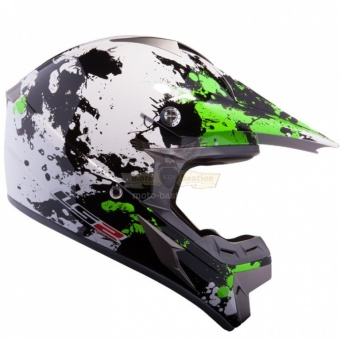 Экипировка - Шлем LS2 MX433 BLAST WHITE BLACK GREEN