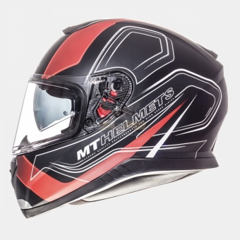 Экипировка - Шлем MT TRUNDER 3 SV trace MATT BLACK RED
